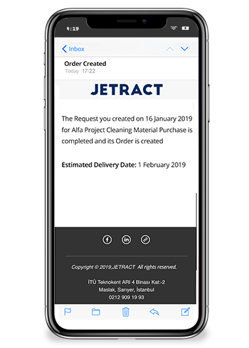 Jetract Procurement Request Management Notification